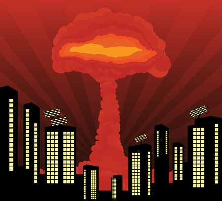 Atomic explosion cloud formed mushroom in city center background Vector