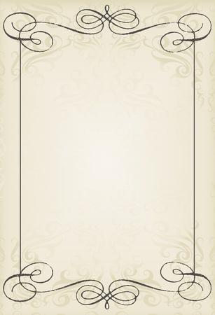 inbjudan: Vintage bröllop ram vektor bakgrund kort