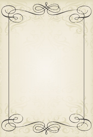 ornament menu: Vintage wedding frame vector background card