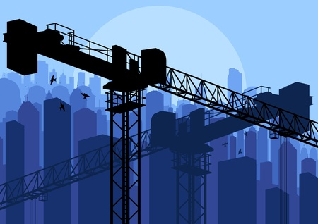 Industrial factory and crane landscape skyline background illustration vector Stock Vector - 12484869