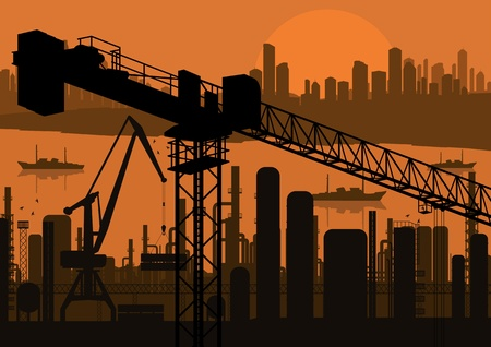 Industrial factory and crane landscape skyline background illustration vector Stock Vector - 12485004