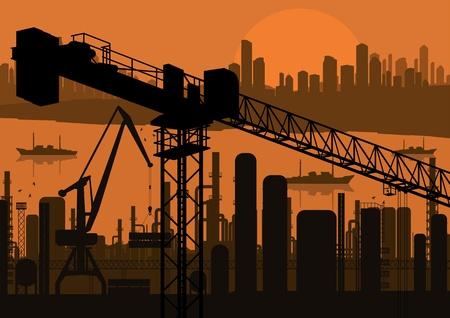 Industrial factory and crane landscape skyline background illustration vector Stock Vector - 12485004