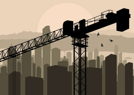 Industrial factory and crane landscape skyline background illustration vector Stock Vector - 12484830