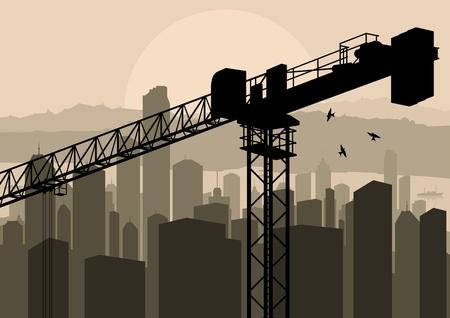 Industrial factory and crane landscape skyline background illustration vector Vector