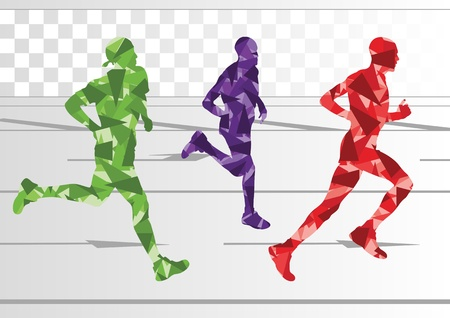 Marathon runners people silhouettes illustration collection background vector
