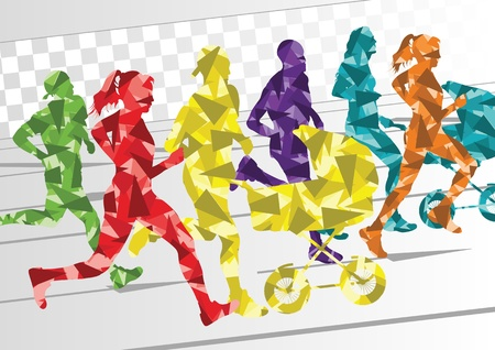 family exercise: Marathon runners people silhouettes illustration collection background vector