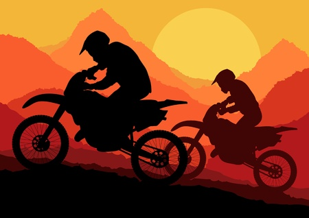 motorcycle rider: Motorbike riders motorcycle silhouettes in wild mountain landscape background illustration vector
