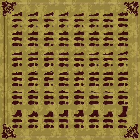 footprints in sand: Vintage man and women shoes silhouette collection background illustration