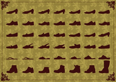 cobbler: Vintage man and women shoes silhouette collection background illustration