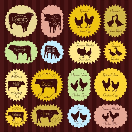 cooked: Farm animals market egg and meat labels food illustration collection background vector Illustration