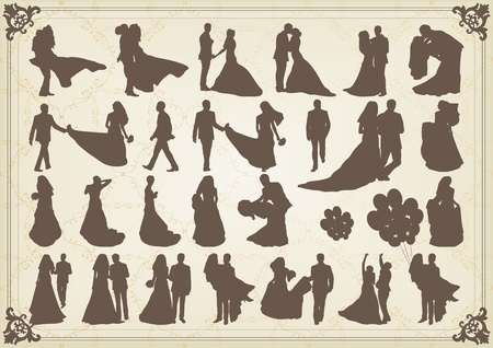 bride groom: Bride and groom in wedding silhouettes illustration collection background  Illustration