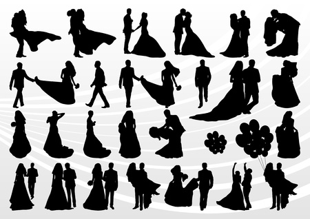 couple dating: Bride and groom in wedding silhouettes illustration collection background vector