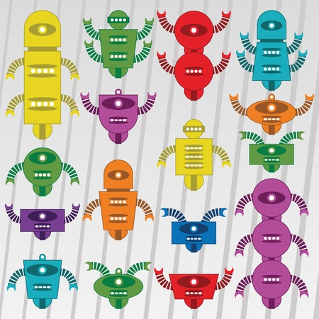 Set of funny cartoons vector robot design Stock Vector - 12484772