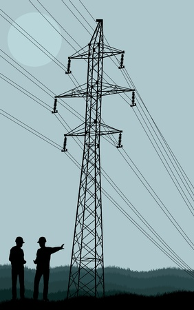 volts: Power line and engineers in front of it vector background Illustration