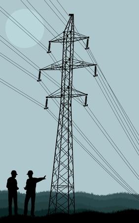 spannung: Stromleitung und Ingenieure vor ihm vector background Illustration