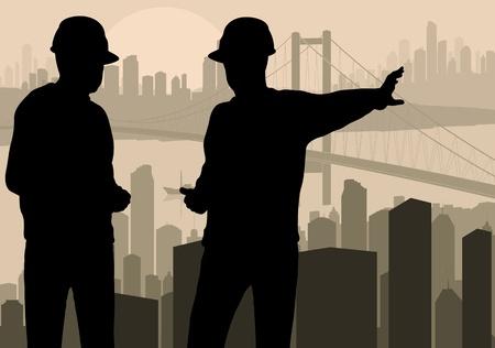 bouwkraan: Engineer kijken bouwproces in de stad vector achtergrond Stock Illustratie