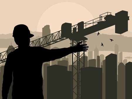 construction management: Engineer watching building process in city vector background Illustration