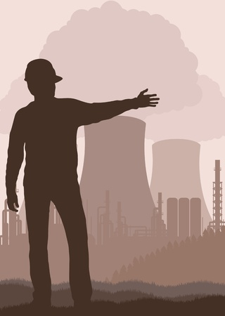 smoke stack: Power plant and engineer in front of it vector background