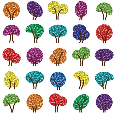 Colorful tree silhouettes illustration collection background vector Vector