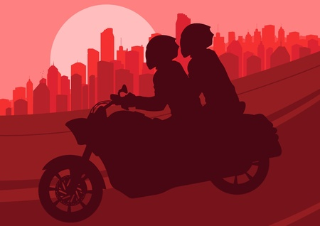 Motorbike riders motorcycle silhouettes in skyscraper city landscape background illustration vector Vector