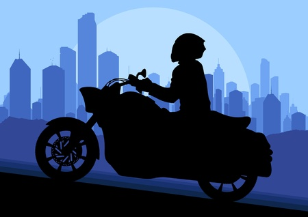 Motorbike riders motorcycle silhouettes in skyscraper city landscape background illustration vector Stock Vector - 12484822