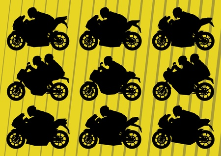 motorized sport: Sport motorbike riders motorcycle silhouettes illustration collection background vector Illustration
