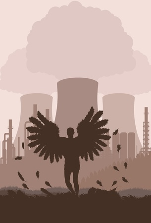 isotope: Death angle in front atomic power plant background