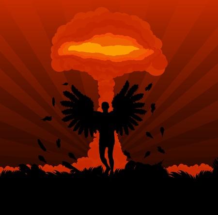 hidrógeno: Ángulo de la muerte en frente de la nube explosión atómica forman setas