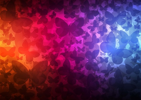 impetuous: Butterflies abstract background with neon effects and colorful lights Illustration