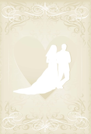 victorian anniversary: Wedding card with man and women in vintage heart vector background Illustration