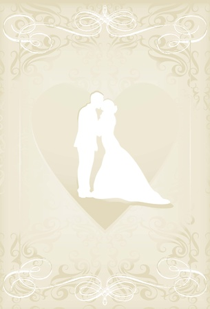 Wedding card with man and women in vintage heart vector background Vector