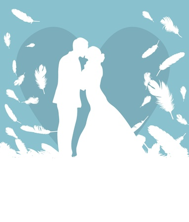 Wedding card with man and women in heaven made of falling feathers vector background Vector