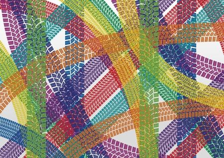 tyre tracks: Llantas de colores imprime la ilustraci�n patr�n de fondo Vectores