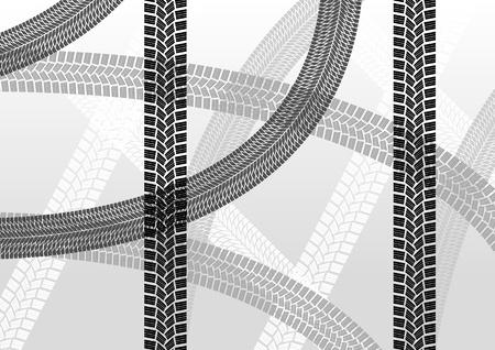 motorizado: Huellas de los neumáticos de fondo ilustración creativa