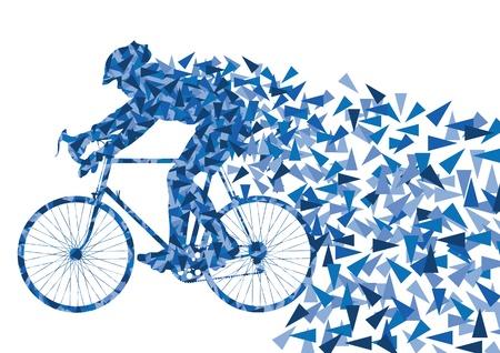 ciclista: Coloridos deporte jinetes bicicleta de carretera bicicleta siluetas en vector de las vías urbanas de la ciudad ilustración de fondo Vectores