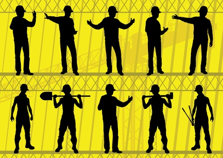 Engineers and builders silhouettes collection in construction site background illustration vector Vector