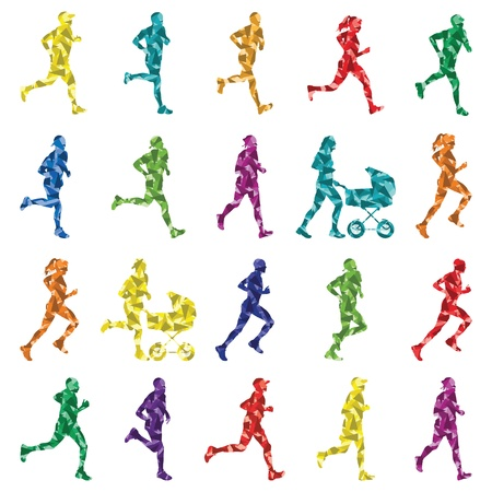 woman run: Marathon runners people silhouettes illustration collection background vector