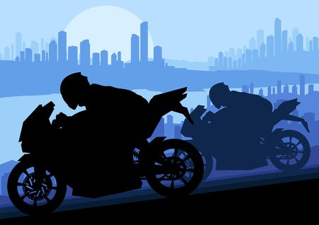 motorbike rider: Sport motorbike rider motorcycle silhouette in skyscraper city landscape background illustration vector