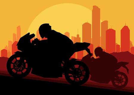 Sport motorbike rider motorcycle silhouette in skyscraper city landscape background illustration vector Vector