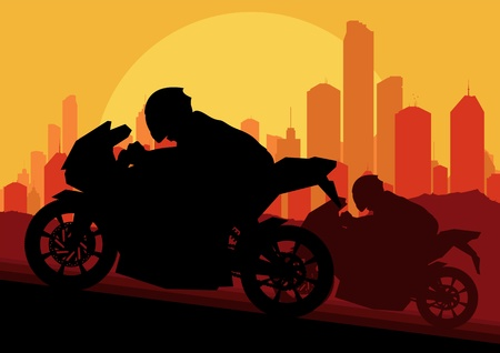 motorcycle helmet: Sport motorbike rider motorcycle silhouette in skyscraper city landscape background illustration vector