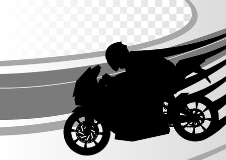motorcycle helmet: Sport motorbike rider motorcycle silhouette in race track landscape background illustration vector