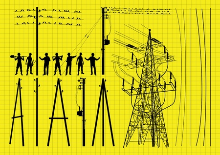 power pole: Electricity poles and structures construction engineers silhouettes illustration collection background vector
