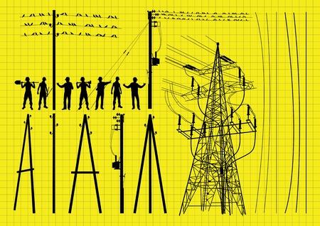 ingeniero electrico: Postes de electricidad y la construcción de las estructuras de los ingenieros de siluetas ilustración vectorial de fondo la colección Vectores