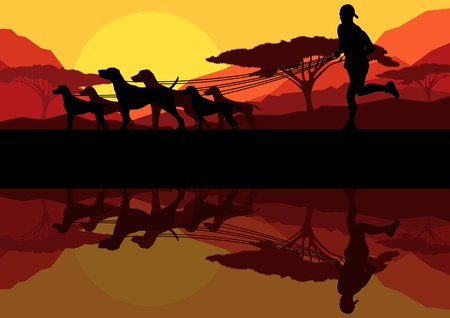 dog run: Outdoor recreation background Illustration