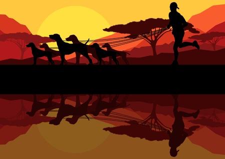 dog walking: Outdoor recreation background Illustration