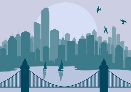 cityscape silhouette: Panorama city with bridge in front of it vector background Illustration
