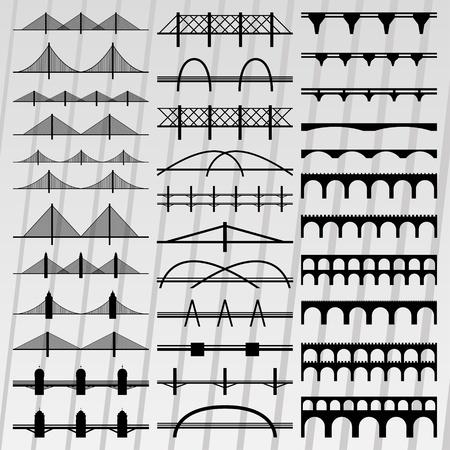 Pont illustration silhouettes collection vecteur de fond