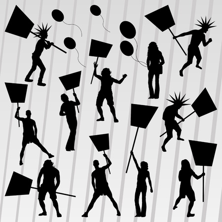 Protesters crowd silhouettes collection background illustration vector Vector