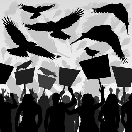 Crows flying over protesters crowd landscape background illustration vector Vektoros illusztráció