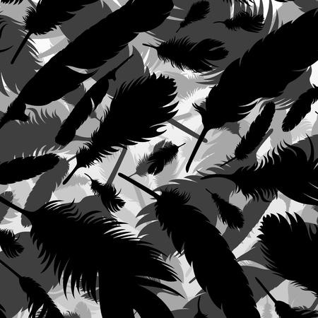 poet: Bird feathers silhouettes background illustration vector Illustration